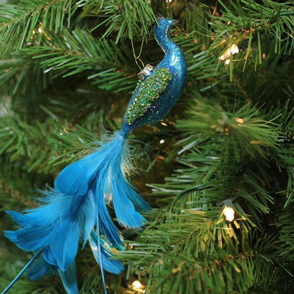 "9"" Regal Peackock Turquoise Blue and Green Glass Hanging Christmas Ornament"""