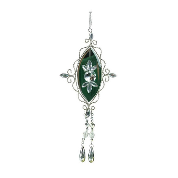 "9.5"" Elegant Silver Jeweled Mirrored Drop Christmas Ornament"""