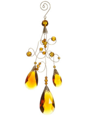 "9.75"" Amber Gold Faceted Beaded Teardrop ScrollingChristmas Ornament"""