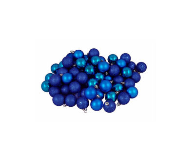 "96ct Lavish Blue 4-Finish Shatterproof Christmas Ball Ornaments 1.5"" (40mm)"""