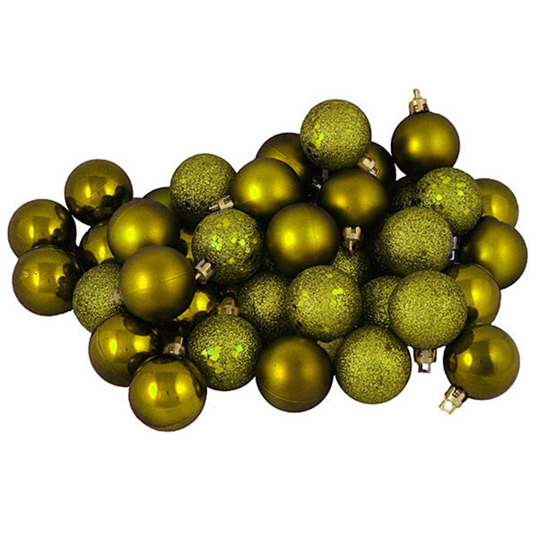 "96ct Olive Green Shatterproof 4-Finish Christmas Ball Ornaments 1.5"" (40mm)"""