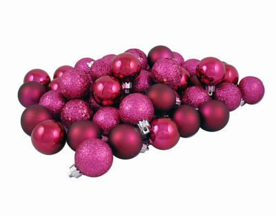 """96ct Red Raspberry Shatterproof 4-Finish Christmas Ball Ornaments 1.5"""" (40mm)"""""""