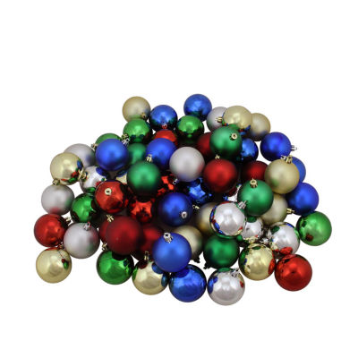 """96ct Traditional Multi-Color Shiny & Matte Shatterproof Christmas Ball Ornaments 1.5"""" (40mm)"""""""
