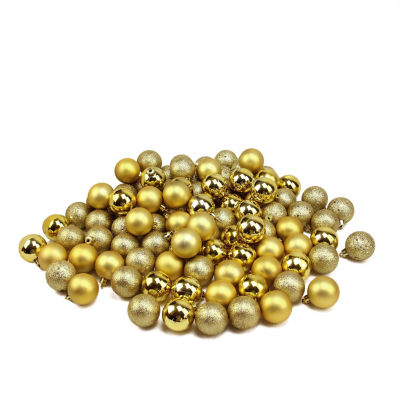 "96ct Vegas Gold 4-Finish Shatterproof Christmas Ball Ornaments 1.5"" (40mm)"""