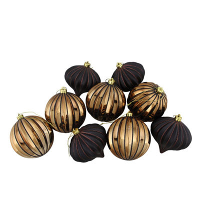 "9ct Black & Copper Glitter Striped Shatterproof Christmas Onion and Ball Ornaments 4"" (100mm)"""