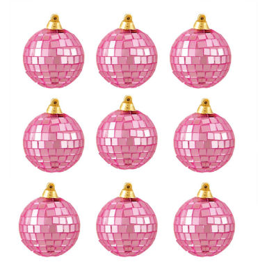 "9ct Bubblegum Pink Mirrored Glass Disco Ball Christmas Ornaments 2.5"" (60mm)"""