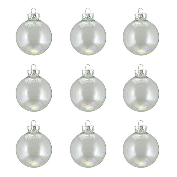 "9ct Clear Iridescent Glass Ball Christmas Ornaments 2"" (50mm)"""