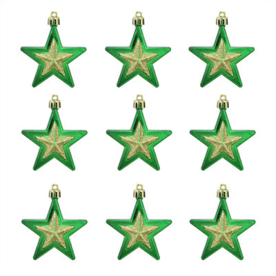 """9ct Green and Gold Glittered Shatterproof Star Christmas Ornaments 2.75"""""""