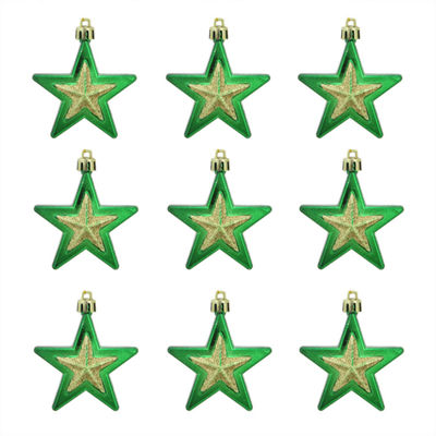 9ct Green and Gold Glittered Shatterproof Star Christmas Ornaments 2.75""