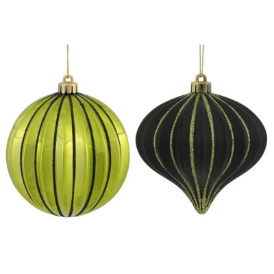 """9ct Lime Green & Black Glitter Striped Shatterproof Christmas Onion and Ball Ornaments 4"""" (100mm)"""""""