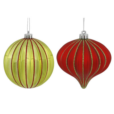 "9ct Lime Green & Red Glitter Striped ShatterproofOnion and Ball Christmas Ornaments 4"" (100mm)"""