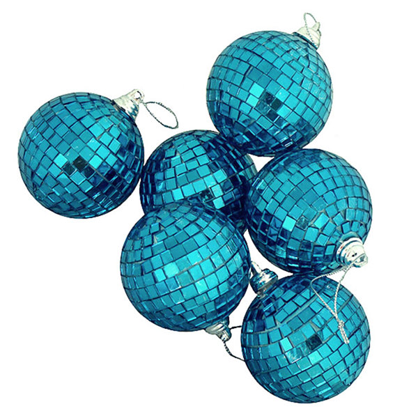 "9ct Peacock Blue Mirrored Glass Disco Ball Christmas Ornaments 2.5"" (60mm)"""