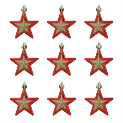 9ct Red and Gold Glittered Shatterproof Star Christmas Ornaments 2.75""