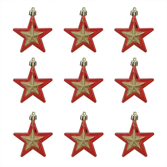 9ct red and gold glittered shatterproof star christmas ornaments 275 - Red And Gold Christmas Ornaments