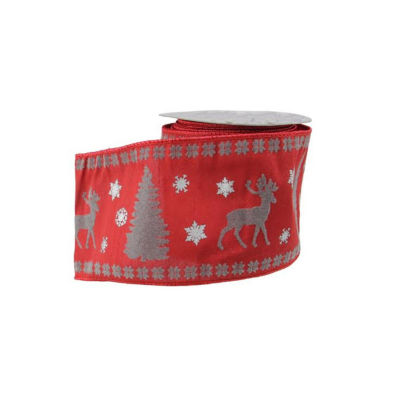 """Alpine Chic Red  Silver and Dark Gray Reindeer Christmas Craft Ribbon 4"""" x 10 Yards"""""""