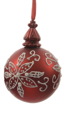 "Alpine Chic Red with White Decorative Floral Design Glass Christmas Ball Ornament 3.25"" (80mm)"""