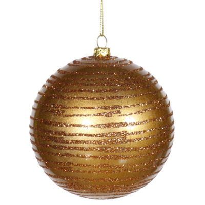 "Antique Gold Glitter Striped Shatterproof Christmas Ball Ornament 4"" (100mm)"""