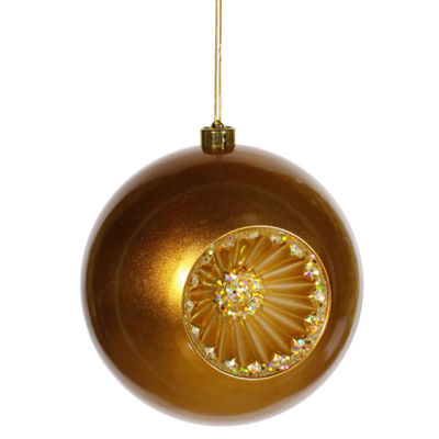 "Antique Gold Retro Reflector Shatterproof Christmas Ball Ornament 8"" (200mm)"""