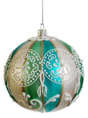 "Aqua and Green Striped Paisley Glass Ball Christmas Ornament 4"" (100mm)"""