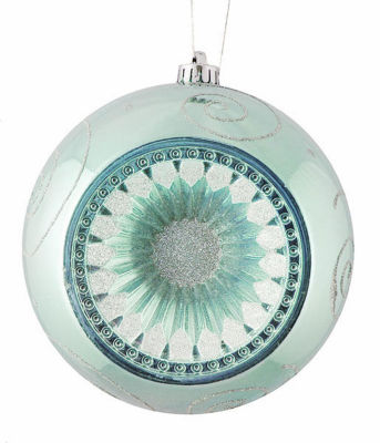 "Baby Blue Retro Reflector Shatterproof Christmas Ball Ornament 8"" (200mm)"""
