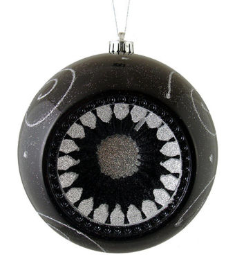 """Black and Silver Retro Reflector Shatterproof Christmas Ball Ornament 8"""" (200mm)"""""""