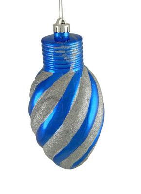 """Blue and Silver Glitter Stripe Shatterproof LightBulb Christmas Ornament 11"""""""