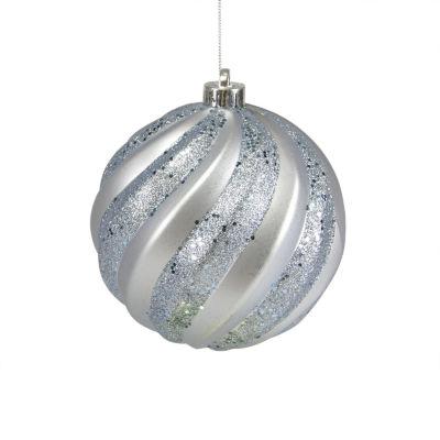 "Bluish Gray Glitter Swirl Shatterproof Christmas Ball Ornament 6"" (150mm)"""