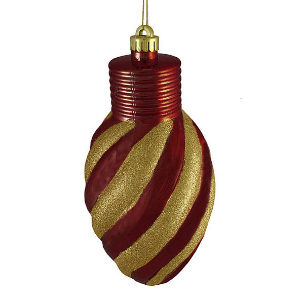 Burgundy and Gold Glitter Stripe Shatterproof Light Bulb Christmas Ornament 11""