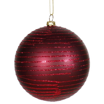 "Burgundy Glitter Striped Shatterproof Christmas Ball Ornament 4.75"" (120mm)"""