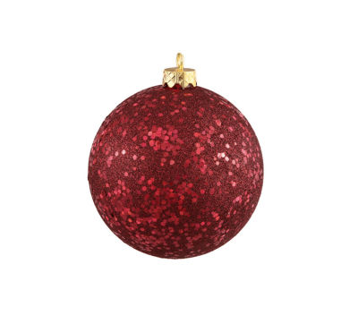 "Burgundy Red Holographic Glitter Shatterproof Christmas Ball Ornament 4"" (100mm)"""