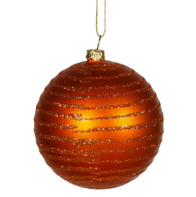 "Burnt Orange Glitter Striped Shatterproof Christmas Ball Ornament 3"" (75mm)"""