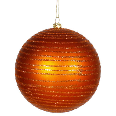 """Burnt Orange Glitter Striped Shatterproof Christmas Ball Ornament 4.75"""" (120mm)"""""""