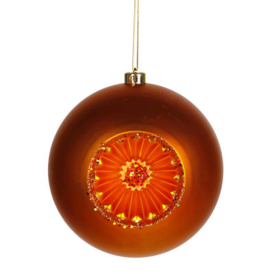 "Burnt Orange Retro Reflector Shatterproof Christmas Ball Ornament 8"" (200mm)"