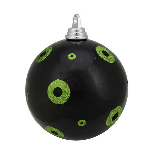 "Candy Black with Lime Green Glitter Polka Dots Commercial Size Christmas Ball Ornament 6"" (150mm)"