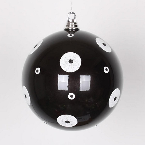"Candy Black with White Glitter Polka Dots Commercial Size Christmas Ball Ornament 8"" (200mm)"""