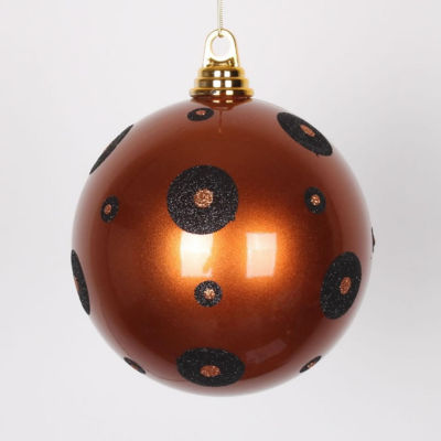 "Candy Copper with Black Glitter Polka Dots Commercial Size Christmas Ball Ornament 6"" (150mm)"""