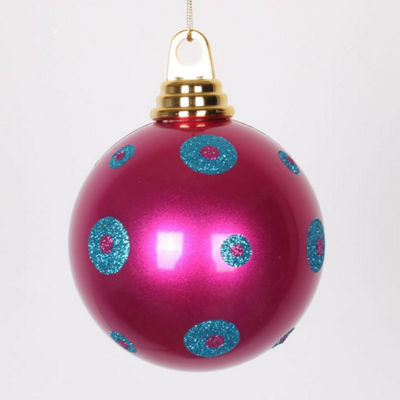"Candy Pink with Turquoise Blue Glitter Polka DotsChristmas Ball Ornament 4.75"" (120mm)"""