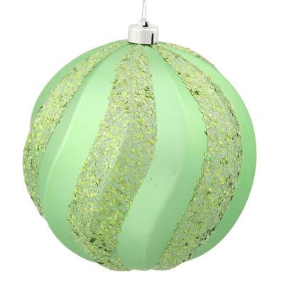 "Celadon Green Glitter Swirl Shatterproof ChristmasBall Ornament 6"" (150mm)"""