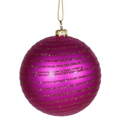 "Cerise Pink Glitter Striped Shatterproof Christmas Ball Ornament 3"" (75mm)"""