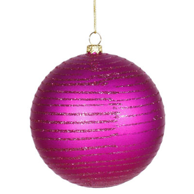 "Cerise Pink Glitter Striped Shatterproof ChristmasBall Ornament 4"" (100mm)"""