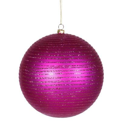 "Cerise Pink Glitter Striped Shatterproof Christmas Ball Ornament 4.75"" (120mm)"""
