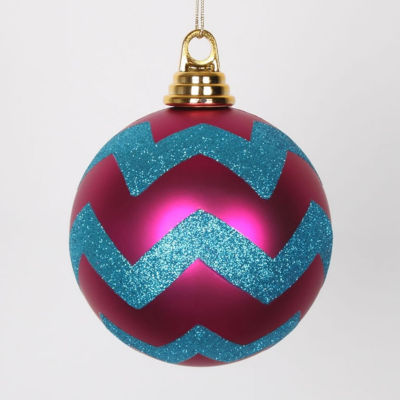 """Cerise Pink Matte with Turquoise Blue Glitter Chevron Christmas Ball Ornaments 4.75"""" (120mm)"""""""