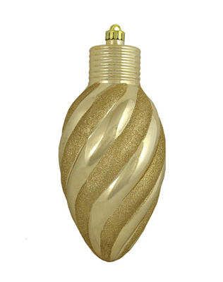 Champagne Glitter Stripe Shatterproof Light Bulb Christmas Ornament 11""