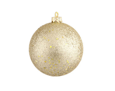 """Champagne Gold Holographic Glitter Shatterproof Christmas Ball Ornament 4"""" (100mm)"""""""