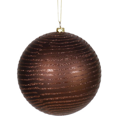 "Chocolate Brown Glitter Stripe Shatterproof Christmas Ball Ornament 4.75""(120mm)"""