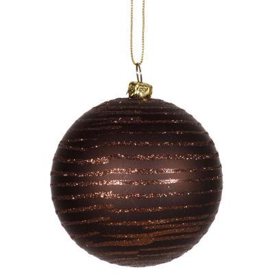 "Chocolate Brown Glitter Striped Shatterproof Christmas Ball Ornament 3"" (75mm)"""