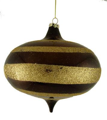 "Chocolate Brown Glitter Striped Shatterproof OnionChristmas Ornament 6"" (150mm)"""