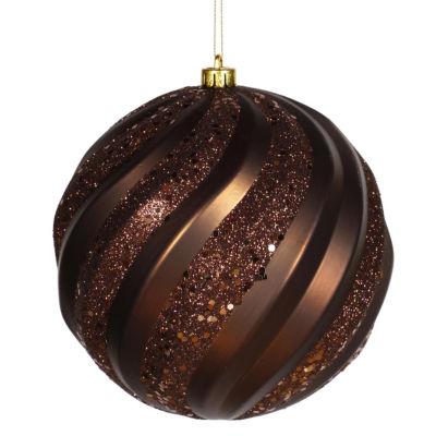 "Chocolate Brown Glitter Swirl Shatterproof Christmas Ball Ornament 6"" (150mm)"""