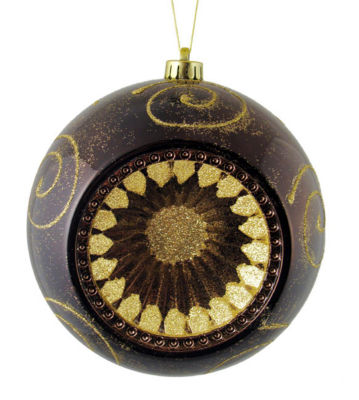 "Chocolate Brown Retro Reflector Shatterproof Christmas Ball Ornament 8"" (200mm)"""