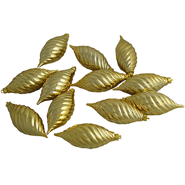 Club Pack of 12 Gold Glamour Shatterproof Finial Christmas Ornaments 4.75""